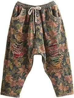 KBCJUA Vaqueros de Pierna Ancha de Moda Pantalones Vaqueros de harén con Estampado Vintage, Pantalones de Mezclilla con Ci...