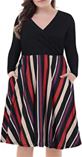 Nemidor Women's V-Neck Print Pattern Casual Work Stretchy Plus Size Swing Dress with Pocket
