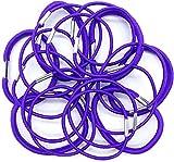 Pack de 18 gomas elásticas para el pelo en varios grosores con cierre de metal brillante (morado)