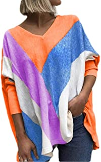 Loyomobak Womens Long Sleeve V-Neck Pullover Loose Color Block T-shirt