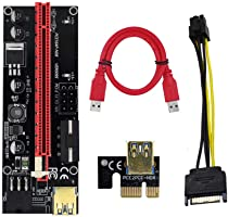 Pi+™ (PiPlus™) Latest VER009S / 009S Black & Gold 16x to 1x Powered PCIe Riser Adapter Card 80cm USB 3.0 Extension Cable...