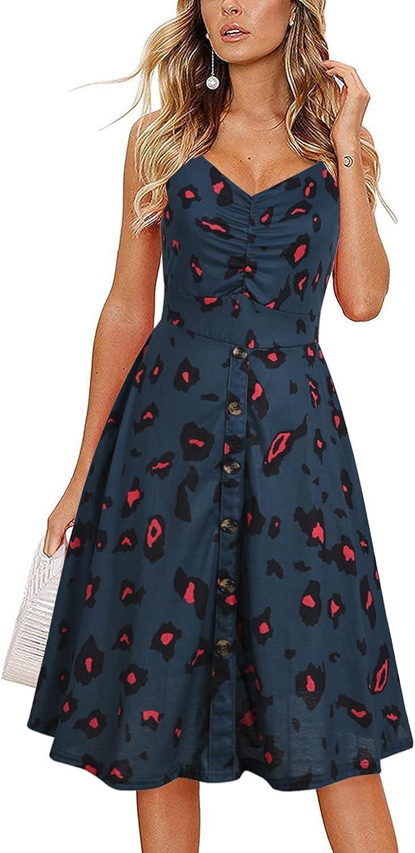 Yikomi Women's Casual Dresses-Summer Spaghetti Strap Button Down Swing Midi Dress with Pockets