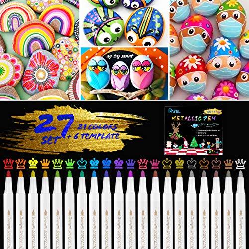 Rotuladores Metálicos,20 Colores Brillantes Marcador Metál