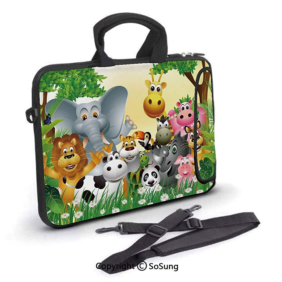 13 inch Laptop Case,Cute Animals in Jungle Elephant Giraffe Panda Bear Pig Lion Hippo Rhino Cartoon Neoprene Laptop Shoulder Bag Sleeve Case with Handle and Carrying & External Side Pocket,for Netbook
