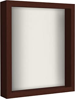 Americanflat 11x14 Shadow Box Frame - Soft Linen Back - Display Memorabilia, Pins, Awards, Medals, Ticket, Photos - Mahogany