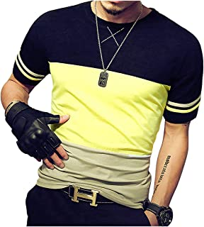 Mens Slim Fitted Short-Sleeve Tee Shirts Cotton Contrast Color Stitching T-Shirt Fashion Top