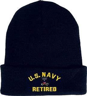 U.S. Navy Retired Beanie Knit Cap. Navy Blue