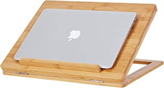 """Laptop Stand Cooling Pad Bamboo Laptop Cooler Pad Laptop Desk Laptop Table with 6 Tilting Angles for Notebooks up to 17.3 Inches, Ventilated, Heavy Duty, 15.7""""L x 12.4""""W"""