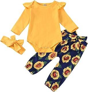 Bebé recién Nacido 3 Piezas Mameluco con Volantes Mono Trajes para niñas pequeñas Ropa Body de Manga Larga Pantalones Flor...