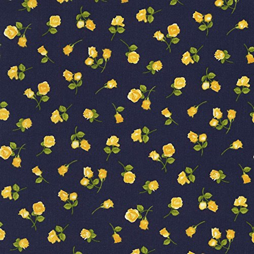 Tiny Yellow Rose Buds, Loosely Tossed Allover, Navy Background, Timeless Treasures, Angelica, Chong-a-Hwang, C6364-NVY, by The Yard