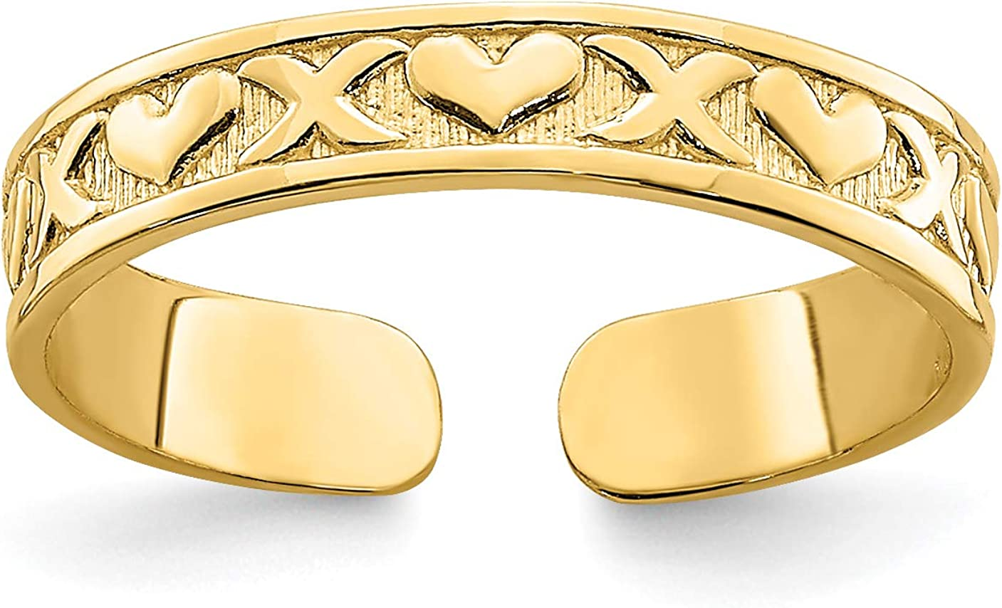 14k Yellow Gold Alternating X and Hearts Pattern Toe Ring