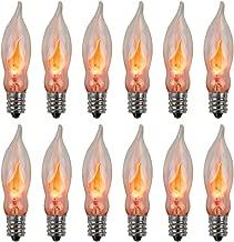 Creative Hobbies A101 Flicker Flame Light Bulb -3 Watt, 130 Volt, E12 Candelabra Base, Flame Shaped, Nickel Plated Base,- Dances with a Flickering Orange Glow -Wholesale Box of 10 Bulbs