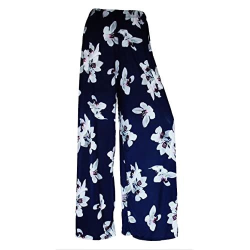 NEW WOMEN LADIES FLORAL PRINT PALAZZO TROUSERS SUMMER WIDE LEG PANTS SIZE 8-26