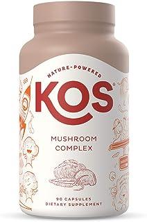 KOS Mushroom Complex Capsules - Nootropic Supplement with Lions Mane, Red Reishi, Cordyceps - 90 Capsules