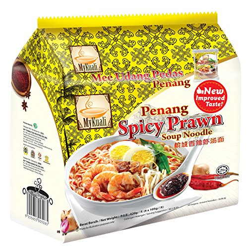8-pack MyKuali / Malaysia Best Brand / Penang Prawn Noodle / Strong Prawn Flavor, Thick Hearty Broth Spicy Mouthfeel from Food Heaven, Penang Malaysia (105g/pack)