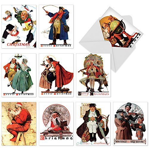 The Best Card Company - 10 Retro Merry Christmas Cards Bulk - Vintage Holiday Notecards with Envelopes (4 x 5.12 Inch) - Rockwell Holidays M6059