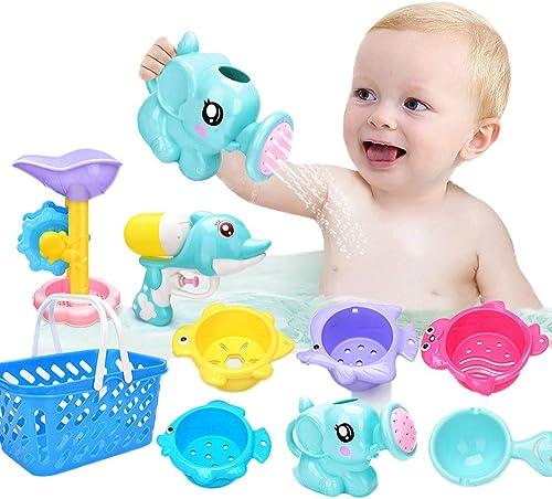 9 PCs Fun Baby Bath Toys for Toddlers 1 2 3 4 5 Years Boys and Girls Storage, Bathtub Swimming Pool Fishing Toys  Kid...