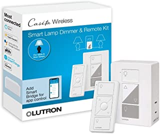 Lutron Caseta Wireless Single-Pole/3-Way Smart Lighting Lamp Dimmer and Remote Kit | P-PKG1P-WH-R | White