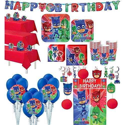 Party City PJ Masks Ultimate Tableware Supplies for 24 Guests, Include Plates, Napkins, a Banner, Balloons, and Décor