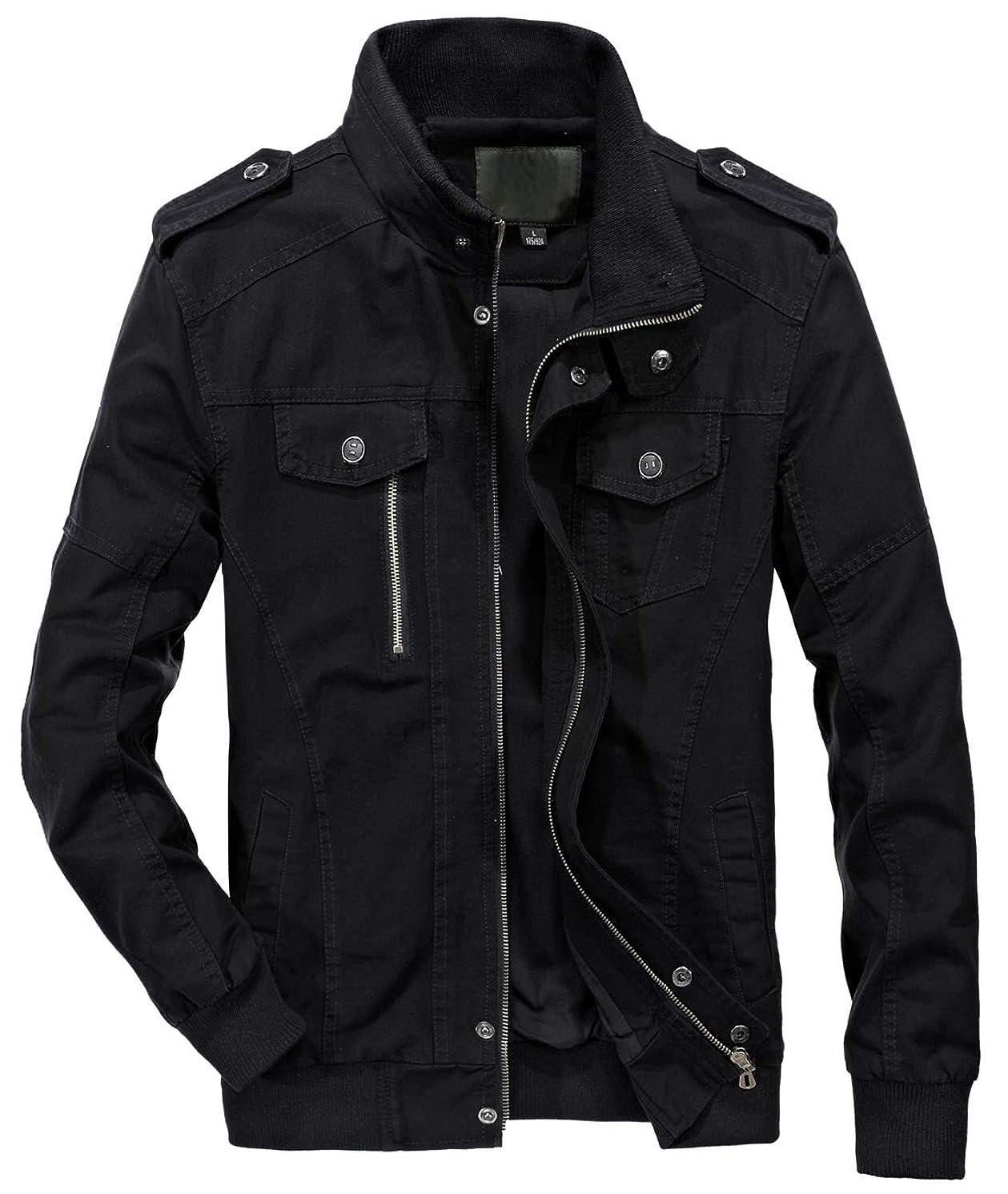 chouyatou Men's Essential Cotton Lightweight Bomber Jacket