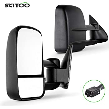 FEIPARTS Tow Mirror Fit for 1988-2000 Chevy//GMC 1988-2001 Chevy//GMC C3500 1992-1999 Chevy//GMC Suburban 1992-2000 Chevy Tahoe GMC Yukon Rearview Mirrors with View Mirror Manual Adjusted Black Housing