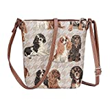 Signare Tapestry Women Lightweight Sling Cross Body Satchel Bag Cavalier King Charles Spaniel Dog (SLING-KGCS)(Size: S)