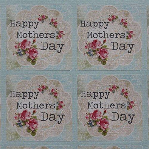 Día de la madre–Hoja feliz día de la madre–35pegatinas Vintage Floral