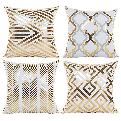 JOTOM Cushion Cover Gold Foil Printing Pillow Case Cover Cushion Covers for Sofa Car Home Decor 45x45cm Set of 4 (Hot stamping Geometry1)