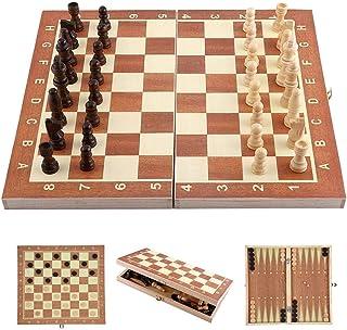 Ejoyous Schackspel i trä schackbräde med fällbart bräde, bärbart schackbräde lyxigt schackspel snidade bitar för familjeak...