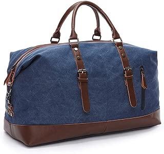Canvas Leather Men Travel Bags Carry On Luggage Bag Handbag Blue