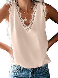 Famulily Womens Lace V Neck Tank Top Summer Loose Sleeveless Shirt Blouses