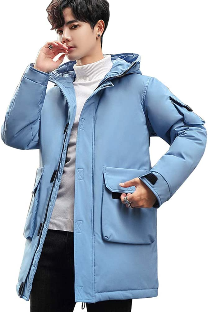 Down jacket Medium Long Men's Winter, Thicken Hooded Winter Clothing, Outdoor Coat, Filler: 90% White Duck Down (Color: White, Blue, Yellow, Black)