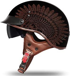FlyingBoy Harley Retro Motorcycle Half Helmet Full face Helmet - DOT Certification for Summer Men's and Women's Helmets,Indian,M