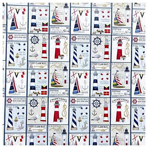 Nautical Coastal Lighthouses Sailboats Gift Wrap Wrapping Paper - 15 Foot Roll