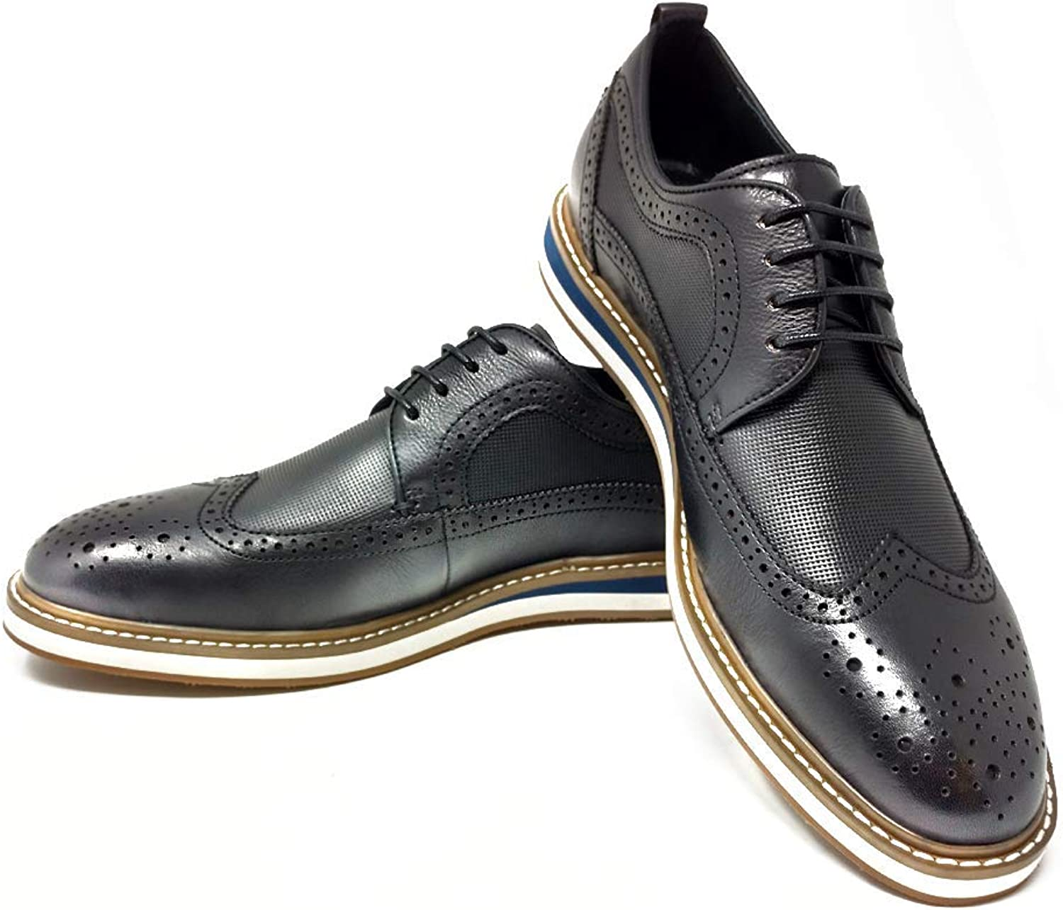 Mr. Jog Men's Premium Leather Oxford Dress shoes  Comfortable Insole   Wingtip   Lace Up   Rubber Sole