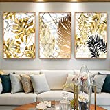 """Unframed 3Set Yellow Leaf Print Wall Art, Plant Wall décor Canvas for Office, Plant Leaf Canvas Print Wall Art Décor, Leaf Picture Oil Painting Wall Mural for Living Room. (16"""" x20"""")"""