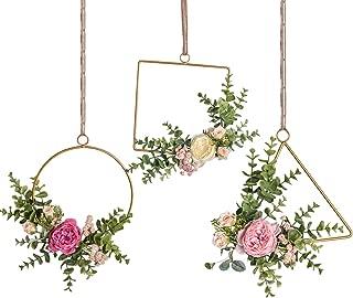 Pauwer Floral Hoop Wreath Set of 3 Handcrafted Artificial Rose Flower and Eucalyptus Greenery Leaves Metal Hanging Hoop Wreath for Wedding Backdrop Nursery Decor