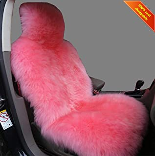Sisha Winter Warm Authentic Australia Sheepskin Car Seat Cover Luxury Long Wool Front Seat Cover Fits Most Car, Truck, SUV, or Van (Pink)