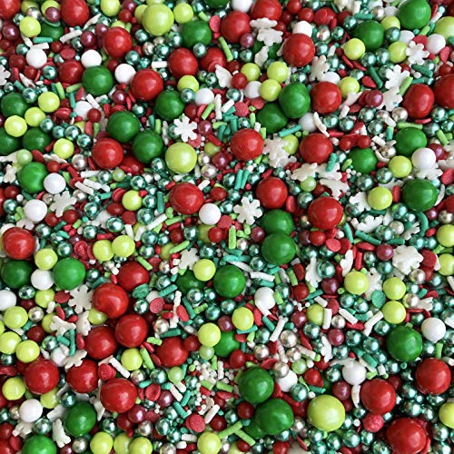 Manvscakes | Sprinkles | Christmas sprinkles | Cake sprinkles | Cookie sprinkles | 4 ounce (Red, green, white)