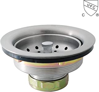 KONE 3-1/2 Inch Kitchen Sink Drain Assembly with Strainer Basket/Stopper, all Stainless Steel Durable and Rustproof