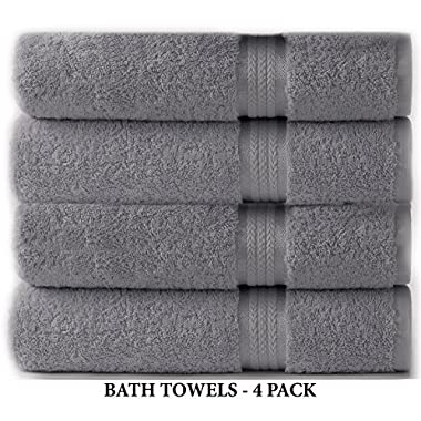 Cotton Craft Ultra Soft 4 Pack Oversized Extra Large Bath Towels 30x54 Charcoal weighs 22 Ounces - 100% Pure Ringspun Cotton - Luxurious Rayon trim - Ideal for everyday use - Easy care machine wash