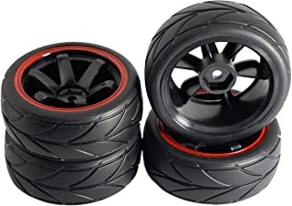 ShareGoo 12mm Hex Wheel Rims & Rubber Tires for Redcat HPI Tamiya HSP RC 1/10 on-Road Touring Drift Car (Pack of 4)
