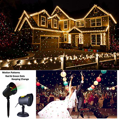 Christmas Motion Laser Lights Projector Pattern Outdoor, Holiday Decorations Lighting Landscape Waterproof for Parties, Garden Xmas Decorative Lights Beam Red and Green Stars Moving