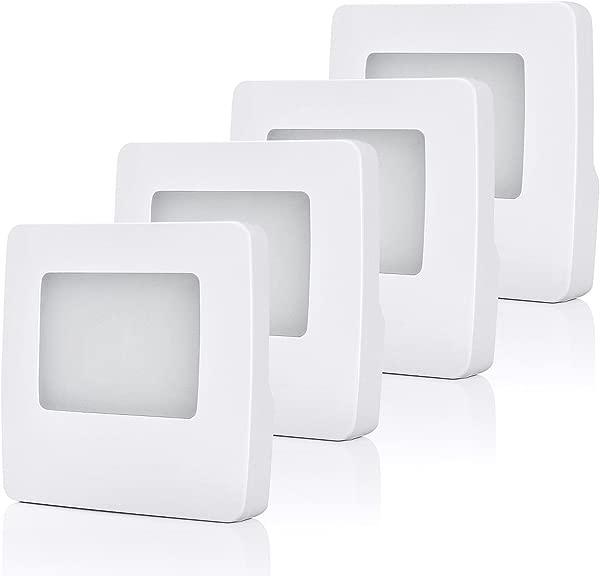 DEWENWILS 4 Pack Plug In LED Night Light With Light Sensor Warm White Dusk To Dawn Sensor Flat Nightlights For Kids Adults Hallway Bathroom Bedroom UL Listed