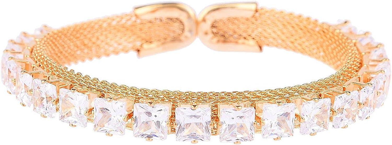 Efulgenz Crystal Cubic Zirconia CZ Cuff Openable Bracelet Jewelry for Women Girls Brides Bridesmaid