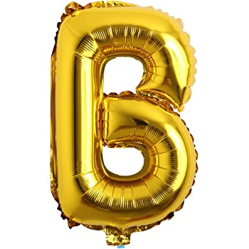 """16"""" inch Single Gold Alphabet Letter Number Balloons Aluminum Hanging Foil Film Balloon Wedding Birthday Party Decoration Banner Air Mylar Balloons (16 inch Gold B)"""