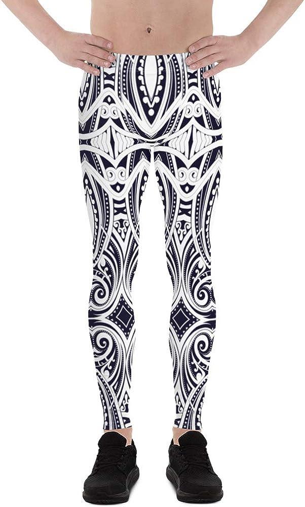 Maori Leggings for Men Tribal Polynesian Tattoo Pattern Print in Navy Blue Meggings