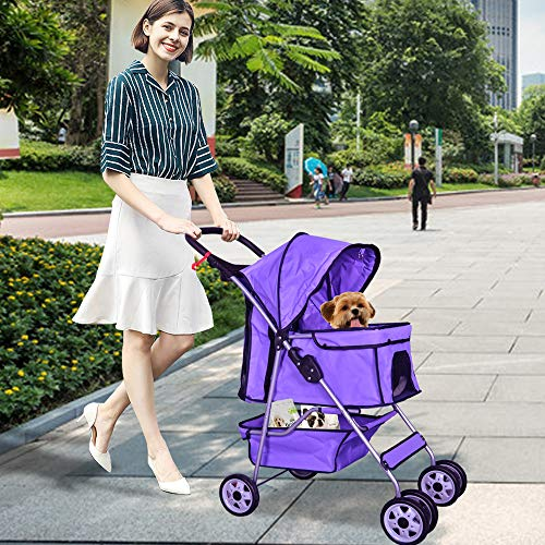 Best Home Product Pet Stroller for Small Dogs Cat Stroller 4 Wheels Dog Stroller for 2 Dogs Travel Folding Carrier Cat Dog Cage Stroller Carrier Strolling Cart with Cup Holders and Removable Liner