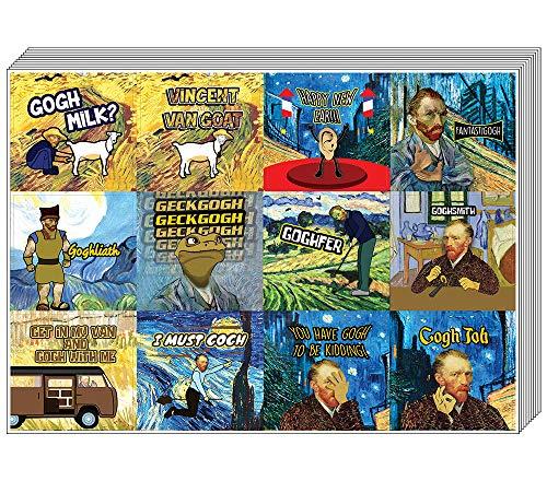 Creanoso Funny Stickers - Geobsedeerd door Van Gogh stickers serie 4-20 Sheet - Muursticker Art for Binnen Buiten - Grote muurdecoratie sticker voor elk oppervlak - Awesome Wall Stickers Set