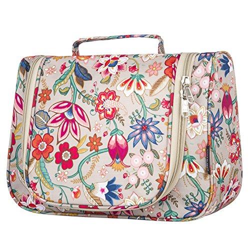 Toiletry Bag Stylish, Yeiotsy Retro Flowers Hanging Travel Toiletry Bag Floral Makeup Bag Cute Cosmetic Organizer for Women (Khaki)